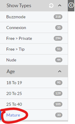 """Click the """"Mature"""" age selector for webcam chat with real women"""